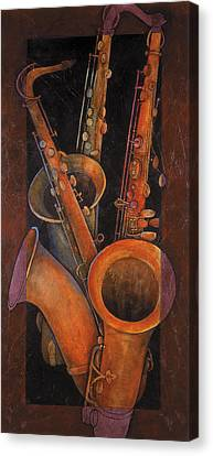 Jazzy Canvas Print - Three Sax by Susanne Clark