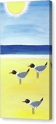 Three Seagulls On The Beach Canvas Print by Jennifer Peck