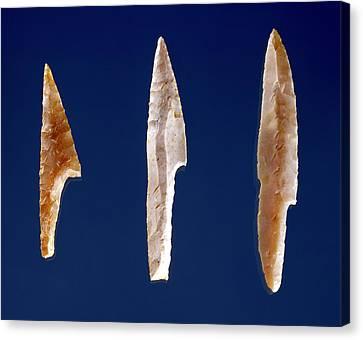 Three Serrated Points, From Volgu, Solutrean Period, 20000-15000 Bc Flint Canvas Print by Prehistoric