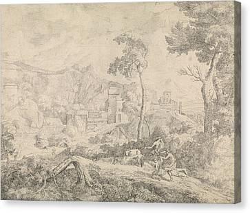 Three Shepherds In A Storm, Johannes Gottlieb Glauber Canvas Print by Johannes Gottlieb Glauber
