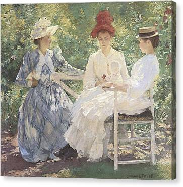 Three Sisters-a Study In June Sunlight Canvas Print by Edmund Charles Tarbell