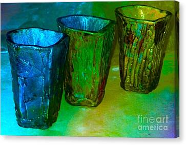 Three Smoke Fired Vases Canvas Print by Joan-Violet Stretch