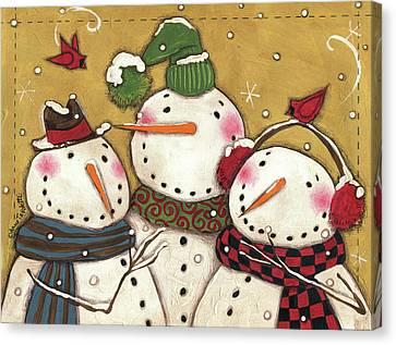 Three Snowmen Canvas Print by Anne Tavoletti