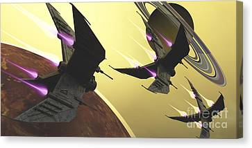 Three Spacecraft Pass By One Of Saturns Canvas Print by Corey Ford