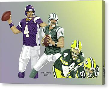 Canvas Print featuring the digital art Three Stages Of Bret Favre by Thomas J Herring