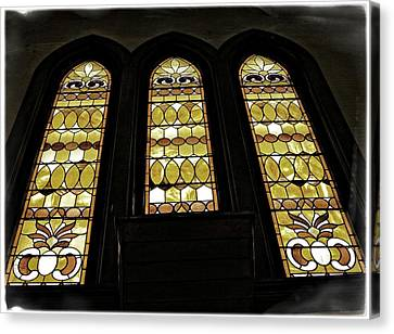 Three Stained Glass Windows Canvas Print by Image Takers Photography LLC - Carol Haddon