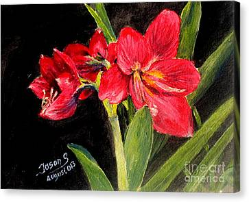 Canvas Print featuring the painting Three Stalks Of Lilies Blooming by Jason Sentuf