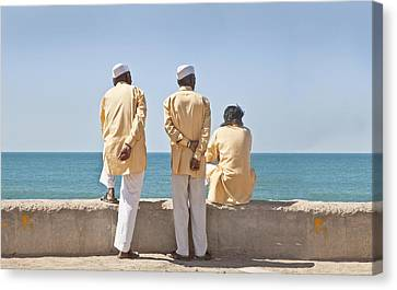 Three Stooges Waiting Time Pass Canvas Print by Kantilal Patel