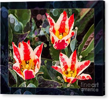 Three Striped Tulips In An Abstract Garden Painting Canvas Print by Omaste Witkowski