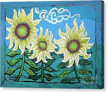 Three Sunflowers Canvas Print by Genevieve Esson
