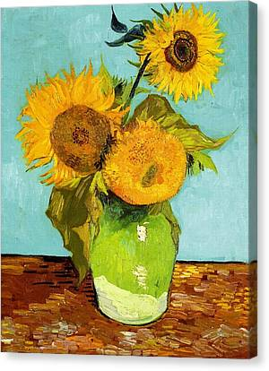 Three Sunflowers In A Vase Canvas Print by Vincent Van Gogh