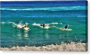 Canvas Print featuring the pyrography Three Surfers And Blue Water by Julis Simo