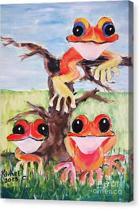 Three Tee Frogs Canvas Print