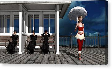 Three Victorian Ladies And The Scandal Canvas Print by Britta Glodde