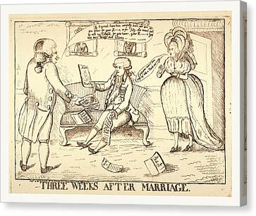 Three Weeks After Marriage, London, 1786, A Man Standing Canvas Print