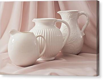 Canvas Print featuring the photograph Three White Pitchers by Sandra Foster