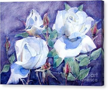 Canvas Print featuring the painting White Roses With Red Buds On Blue Field by Greta Corens