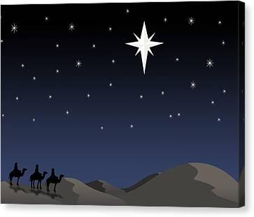 Three Wisemen Following Star Canvas Print by Daniel Sicolo