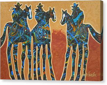 Arizona Contemporary Cowgirl Canvas Print - Three With Rope by Lance Headlee