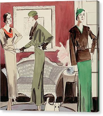 Three Women In A Living Room Canvas Print by R.S. Grafstrom
