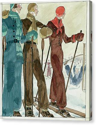 Three Women On The Ski Slopes Wearing Suits Canvas Print by Jean Pages