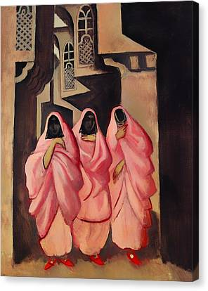 Three Women On The Street Of Baghdad Canvas Print by Mountain Dreams