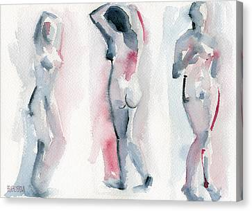 Three Women Pink And Blue Watercolor Nude Figure Painting Canvas Print by Beverly Brown