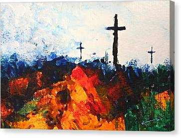 The Wooden Cross Canvas Print - Three Wooden Crosses by Kume Bryant