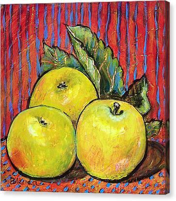 Three Yellow Apples Canvas Print