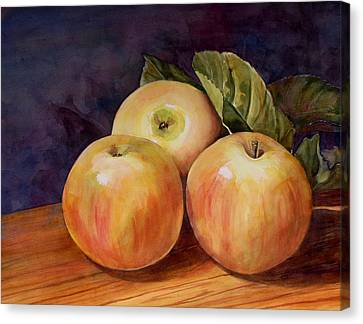 Three Yellow Apples Still Life Canvas Print