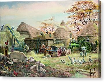 Threshing In Kent Canvas Print by Dudley Pout