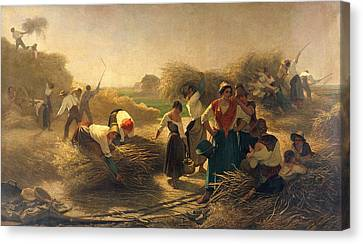 Bales Canvas Print - Threshing Rapeseed In The Fields Of Lille Oil On Canvas by Auguste Joseph Herlin