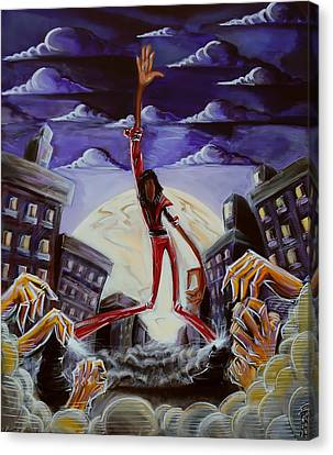 Canvas Print featuring the painting 'thriller V3' by Tu-Kwon Thomas