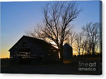 Through The Corn Crib Canvas Print