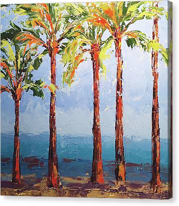 Through The Palms Canvas Print by Leslie Saeta