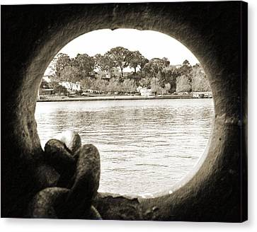 Through The Porthole Canvas Print by Holly Blunkall
