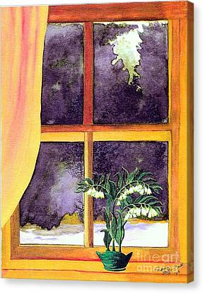 Canvas Print featuring the painting Through The Window by Patricia Griffin Brett
