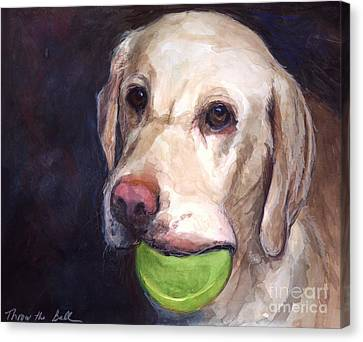 Labradors Canvas Print - Throw The Ball by Molly Poole