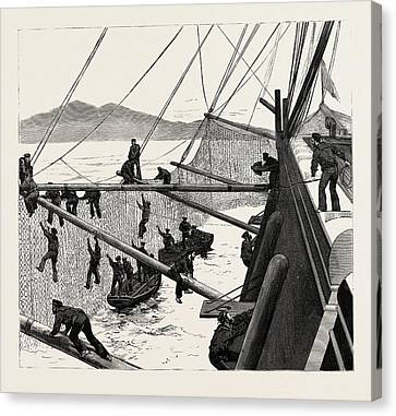 Sudan Red Canvas Print - Throwing Out Torpedo-nets To Protect The Sultan by English School