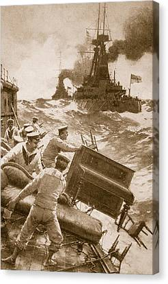 Sailboats Canvas Print - Throwing Overboard All Inflammable Luxuries When A Battleship Is Cleared For Action by English School