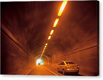 Thru The Tunnel Canvas Print by Karol Livote