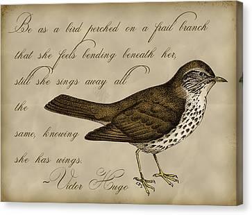 Inspirational. Pointillism Canvas Print - Thrush Bird Wall Art by Christy Beckwith