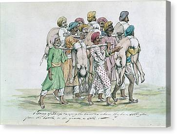Thugs Canvas Print - Thugs Carrying Dead Travellers by British Library