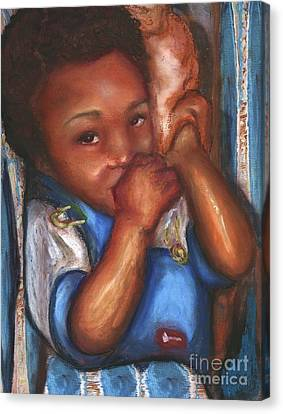 Canvas Print featuring the mixed media Thumb And A Blankee by Alga Washington
