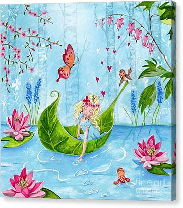 Flower Pink Fairy Child Canvas Print - Thumbelina 1 by Caroline Bonne-Muller