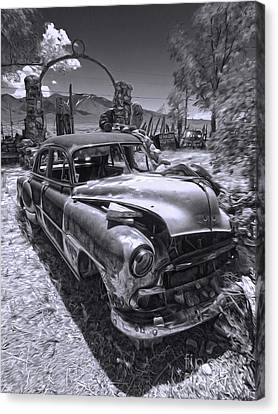 Thunder Mountain Indian Monument -  Car Wreck Canvas Print by Gregory Dyer