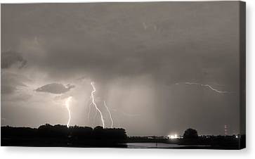 Thunder Rolls And The Lightnin Strikes Sepia Canvas Print by James BO  Insogna