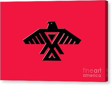 Thunderbird Emblem Of The Anishinaabe People Black On Red Version Canvas Print