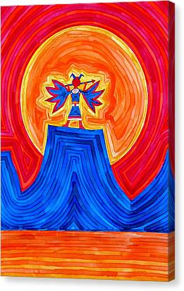 Thunderbird Original Painting Sold Canvas Print by Sol Luckman