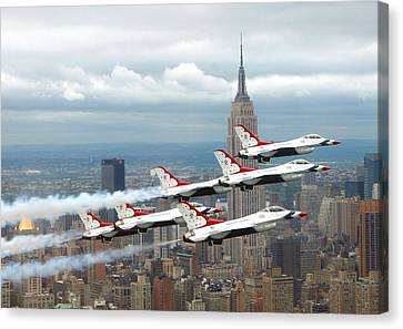 Thunderbirds Over New York City Canvas Print by U S A F